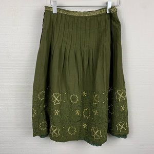 Ipsa Skirt Green Boho Cotton Embroidered Lined